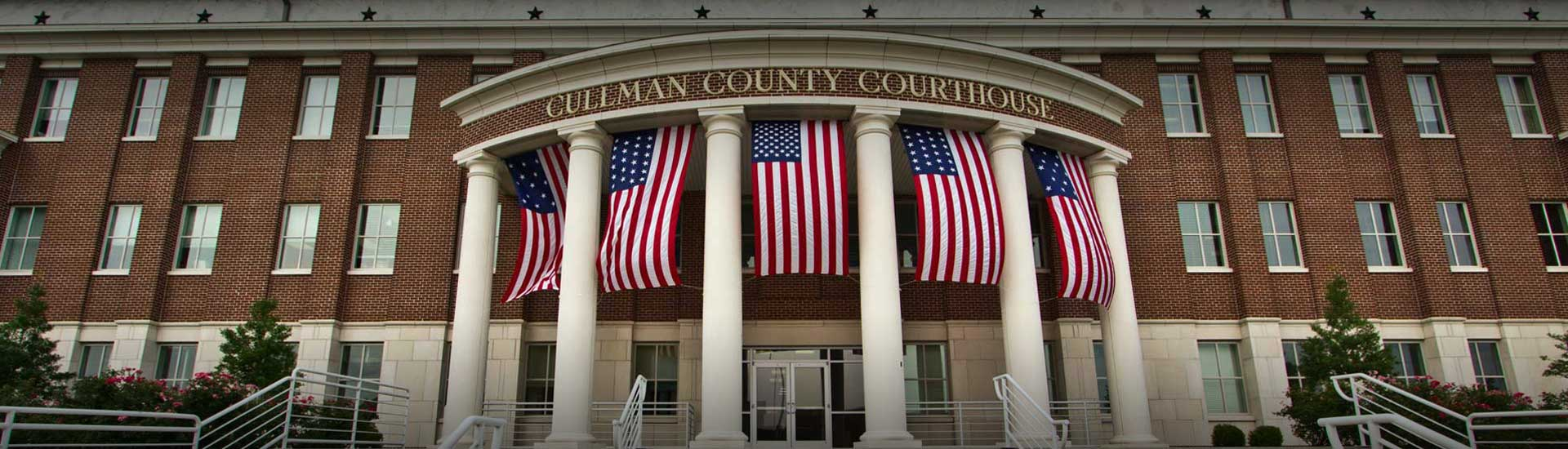Cullman County Courthouse with Flags Displayed